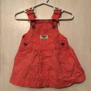 Oshkosh Overall Dress Pink Coral Baby Girl 6 month